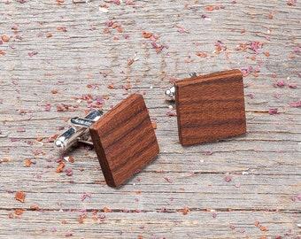 Wood Cufflinks, Square rosewood cufflinks, Wedding Cufflinks, boyfriend gift, wooden cufflinks for men, groomsmen set, customized