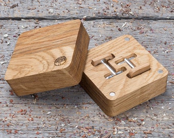 Wood Cufflinks with wood gift box Rounded Square oak wooden cufflinks free shipping Wedding groomsman cuff links set of 2-4-6-8-10 groomsmen