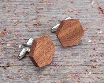 Wood Cufflinks, Wedding Groomsman set Cufflinks, Hexagon mahogany wooden cufflinks, boyfriend gift  groomsmen engraving customized cuff link