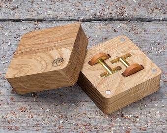 Wooden Cufflinks, monogrammed Round kusia wood cuff links in gift box, free shipping, wedding groomsman set, boyfriend gift personalization