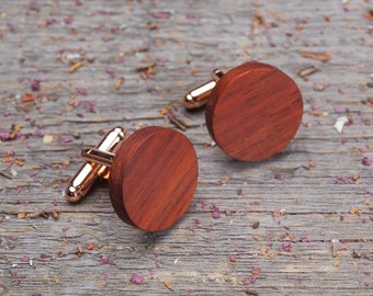 Boyfriend gift, Wooden Cufflinks, Round red Padauk wood cufflinks, cufflinks for men, customized monogrammed engraving groomsmen set 2-4-6