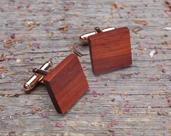Wooden Cufflinks, Square red padauk cufflinks, Wedding Cufflinks, groomsmen wedding cuff links set, monogrammed, engraved, personalization