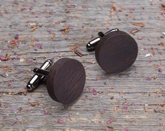 Wooden cuff links wedding set of 2-6-10-14. Wood Cufflinks Round wenge wood cufflinks, boyfriend gift, wood cufflinks engraved customized
