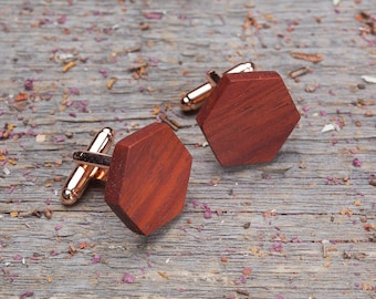 Monogrammed Wood Cufflinks, Hexagon red padauk wooden cufflinks, wedding groomsman set cuff links of 2-6-10-14-18 boyfriend gift cuff link
