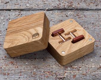 Wooden Cufflinks, gift box and free shipping,  Square red padauk wood cufflinks, groomsmen wedding cuff links set, monogrammed, engraved