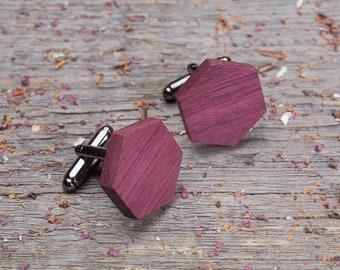 Wood Cufflinks, Hexagon Purpleheart cufflinks, Wedding Cufflinks, 5th Wedding Anniversary Present, cufflinks for men, groomsmen, customized