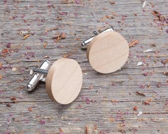 Wooden Cufflinks, monogrammed Round maple wood cufflinks, Wedding groomsman gift set, cufflinks for men, groomsmen cufflinks, boyfriend gift