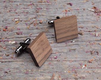 Wood Cufflinks, Square walnut cufflinks, Wedding Cufflinks, 5th Wedding Anniversary Present, cufflinks for men, groomsmen, customized
