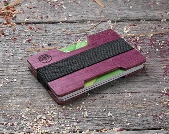 Premium Wood wallet, Purple heart wood, Minimalt Wallet, Wooden wallet, Credit card holder, boyfriend gift, Personalized wallet insert card