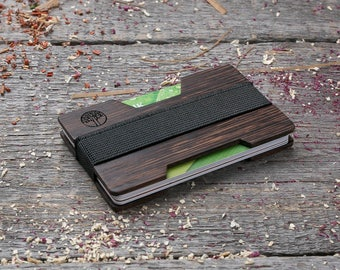 Premium Wood wallet, Black wenge wood, Minimal Wallet, Wooden wallet, Credit card holder, boyfriend gift, Personalized wallet insert card