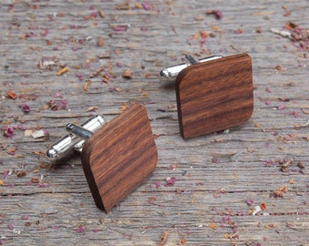 Wood Cufflinks, Rounded Square cufflinks, Wedding Cufflinks, boyfriend gift, cufflinks gifts for him, groomsmen, customized, personalization