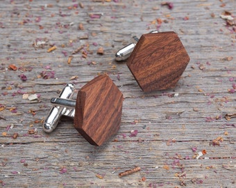 Wood Cufflinks, Best seller Hexagon rosewood wooden cuff links, groomsmen cufflinks set, Boyfriend gift, monogrammed engraving cuff links