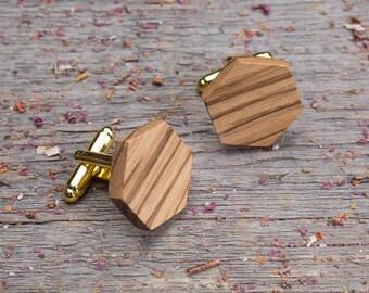 Wood Cufflinks, Hexagon zebrano wood cufflinks, Wedding Cufflinks, 5th Wedding Anniversary Present, cufflinks for men, groomsmen, customized