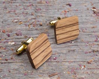 Wood Cufflinks, Rounded Square wood cufflinks, Wedding Cufflinks, Boyfriend gift for him Father day cufflinks for men, groomsmen, customized