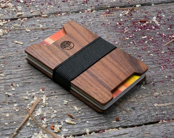 Premium Wood wallet, Rosewood wood, Slim Minimal Wallet, Wooden wallet, Credit card holder, boyfriend gift, Personalized wallet insert card