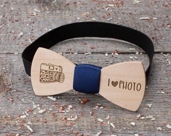 Wood bow tie for photographer, camera, navy blue,i love photo. Wooden bow tie Boyfriend gifts, Gifts for Him, Personalized, pocket square
