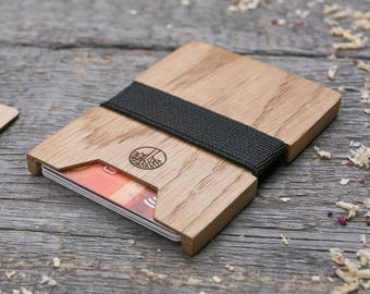 Premium Wood wallet, Oak wood wallet, Slim Mini Wallet, Wooden wallet, Credit card holder, boyfriend gift, Personalized wallet insert card