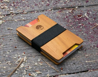 Premium Wood wallet, Kusia wood, Slim Minimal Wallet, Wooden wallet, Credit card holder, boyfriend gift, Personalized wallet insert card
