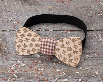 Wood bow tie for photographer, camera, hipster, instagram, HYIP. Wooden bow tie Boyfriend gifts, Gifts for Him, Personalized,  pocket square