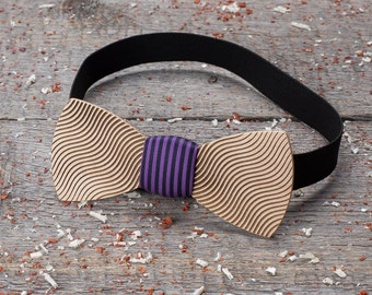 Wood bow tie abstraction, geometry, line bowtie Premium Wooden bow tie Boyfriend gifts, Gifts for Him, Personalized, line pocket square