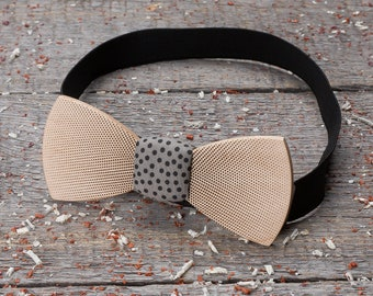Wooden bow tie abstraction, geometry, polka dot Premium Wood bow tie Boyfriend gifts, Gifts for Him, Personalized, gray dot  pocket square