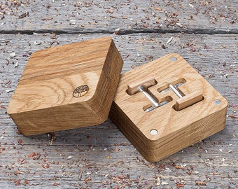 Wooden Cufflinks in gift box, free shipping. Square oak wood cufflinks Wedding Cufflinks set of 2-4-6-8-10, groomsmen gift, boyfriend gift