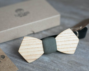 Wooden bow tie, ash wood bow tie, wooden bowtie, Khaki bow tie, wedding Groomsmen bowtie  gifts, Boyfriend gift, Gifts for Him, Personalized