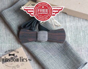 Mens wooden bowtie Kennedy Slim + pocket square. Man wood bow tie. Real wood and fabric. Men Accessories. 100% hand made.