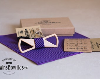 Wooden bow tie Lex Slim Fresh + pocket square. Man wood bow tie. Men Accessories. 100% hand made. Best personal gift.