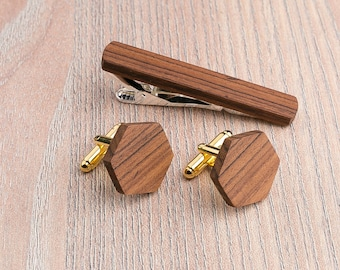 Wood Cufflinks tie Clip set. Wedding Rosewood Hexagon Cufflinks. boyfriend gift . gift for him. Wood Cuff Links, Groomsmen Cufflinks set.