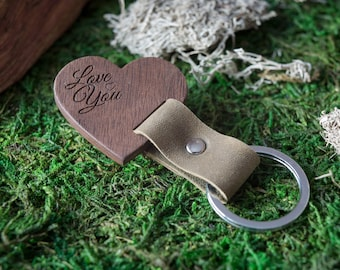 Wooden Leather Keychain - Love You Walnut Key Chain America, State of USA. wood key chain. Leather key ring. Boyfriend Groomsmen gift.
