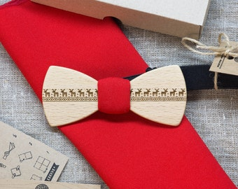 Wood bowtie  Retro + red color pocket square Personal engraving wooden bow ties. Men Accessories. 100% hand made. Best xmas /bday gift.