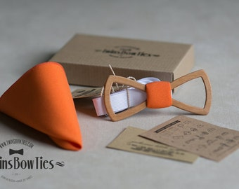 Wooden bow tie Fresh Air 3 Classic + pocket square. Man wood bow tie. Men Accessories. 100% hand made. Best personal gift.