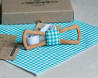 Wood bowtie Vitaliy Fresh + pocket square. Slim man wooden bow tie. Men Accessories. 100% hand made. Best personal gift.