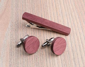 Wooden tie Clip Cufflinks Set Wedding Purpleheart Cufflinks. Wood Tie Clip Cufflinks Set. boyfriend gift for him, Groomsmen Cufflinks set.