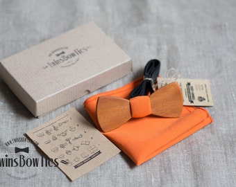 Wood bowtie Roman Classic + pocket square. Personal engraving wooden bow ties. Men Accessories. 100% hand made. Best personal gift.