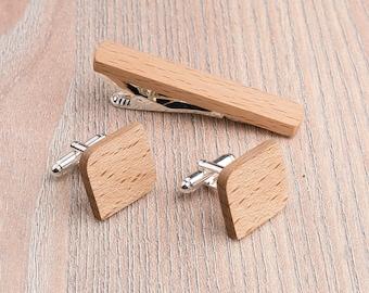 Wooden tie Clip Cufflinks Set Wedding Beech Groom Cufflinks. Wood Tie Clip Cufflinks Set. Mens Wood Cuff Links, boyfriend gift, father day