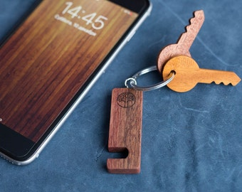 Sapele  Wood smartphone stand keychain. Real wood. Any engraving 2 sides. Keyring  Stand for iPhone, Samsung and other. Best gift.