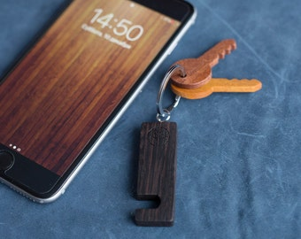Wenge black Wood smartphone stand keychain. Real wood. Any engraving 2 sides. Keyring  Stand for iPhone, Samsung and other. Best gift.