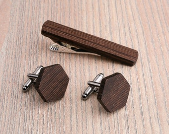 Wooden tie Clip Cufflinks Set Wedding Wenge Hexagon Cufflinks. Wood Tie Clip Cufflinks Set. Mens Wood Cuff Links, Groomsmen Cufflinks set.