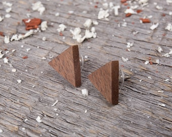 Wooden Triangular Earring, Walnut Wood Stud, Dark Gray color Mini Women and Men Studs, Exotic Wood Stud Earring in Craft Box. Gift for her