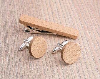 Wooden tie Clip Cufflinks Set Wedding Beech Round Cufflinks. Wood Tie Clip Cufflinks Set. Mens Wood Cuff Links, Groomsmen Cufflinks set.