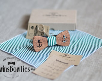 Mens unique wooden bow tie Murmansk Classic + pocket square. Real wood and fabric. Men Accessories. 100% hand made.