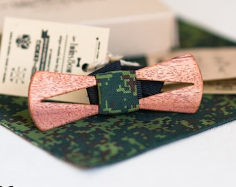 Wood bow tie Arrow Fresh + pocket square. Real wooden bowtie  and fabric. Men Accessories. 100% hand made.  Best personal gift.