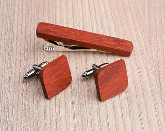 Wooden tie Clip Cufflinks Set Wedding Rounded Square Cufflinks. Wood Tie Clip Cufflinks Set. boyfriend gift,  Groomsmen Cufflinks set.