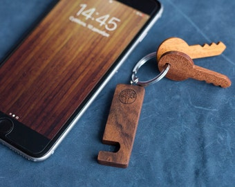 Rosewood Wood smartphone stand keychain. Real wood. Any engraving 2 sides. Keyring  Stand for iPhone, Samsung and other. Best gift.