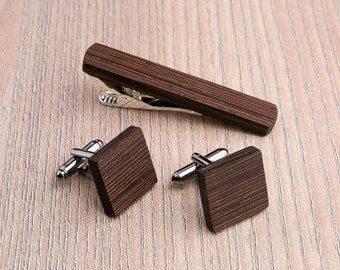 Wooden tie Clip Cufflinks Set Wedding Wenge Square Cufflinks. Wood Tie Clip Cufflinks Set. for him, boyfriend gift, Groomsmen Cufflinks set.