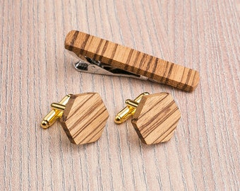 Wooden tie Clip Cufflinks Set Wedding Zebrano Hexagon Cufflinks. Wood Tie Clip Cufflinks Set. Mens Wood Cuff Links, Groomsmen Cufflinks set.