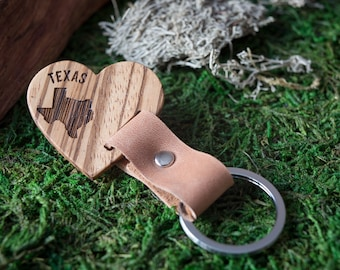 Wooden Leather Keychain - Zebrano  Key Chain America, State of USA. wood key chain. Brown Leather key ring. Boyfriend Groomsmen gift.