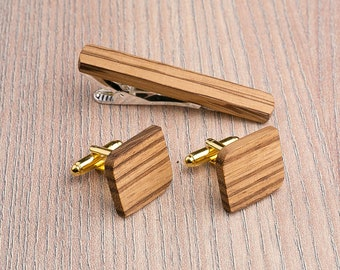 Wooden tie Clip Cufflinks Set Wedding Rounded Square Cufflinks. Wood Tie Clip Cufflinks Set. boyfriend father gift, Groomsmen Cufflinks set.